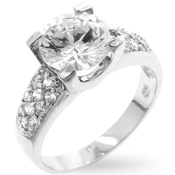 White Gold Rhodium Bonded Engagement Ring with Pave Band Hoisting a Round Cut Clear CZ Center Stone in a Prong Setting in Silvertone