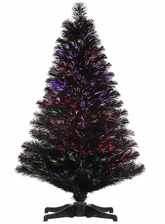 2' Pre-Lit Jet Black Fiber Optic Artificial Christmas Tree - Multi LED Lights