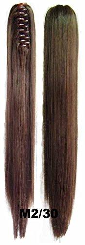 Queen Wig longue ligne droite Jaw Griffe clip cheval clip sur l'extension de morceau de cheveux poney chute - #M2/30 Brown/Light Auburn fonce