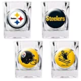 NFL Pittsburgh Steelers Four Piece Square Shot Glass Set (Individual Logos)