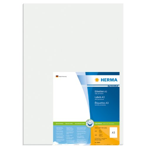 HERMA 8692 297x420mm Colour Laser Paper Rectangular Premium Multi Function Labels - Matte White (100 Labels, 1 per Sheet)