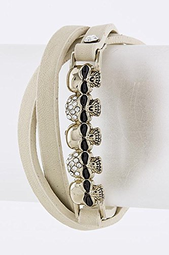 KARMAS CANVAS SKULL BAR WRAP BRACELET (Beige) (How Do I Make Ch compare prices)