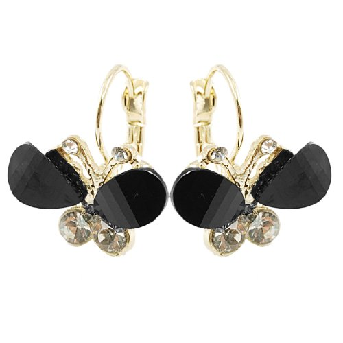Rosallini Lady Rhinestone Inlaid Black Plastic Butterfly Shaped Pendant Clip Earrings Decor