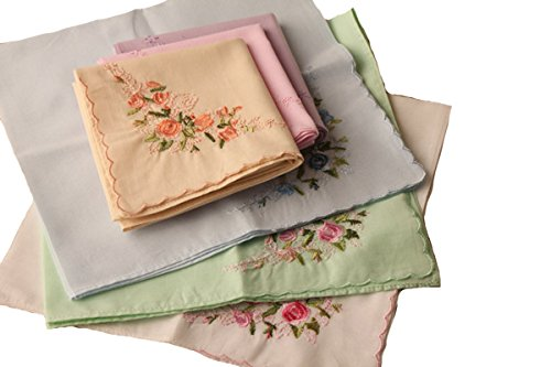 La Closure Vintage Floral Cotton Embroidered Ladies Handkerchiefs Pack 0