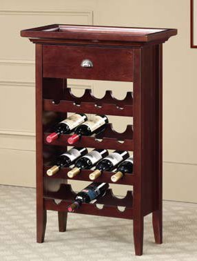 Brown finish wood Wine rack with removable drink tray and wine bottle storage (Wine Rack With Removable Tray compare prices)