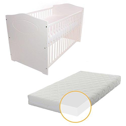 Babyblume-Babybett-Kinderbett-140x70-Umbaubar-Kuba-in-verschiedenen-Varianten-Weiss-inkl-Matratze-PLUS