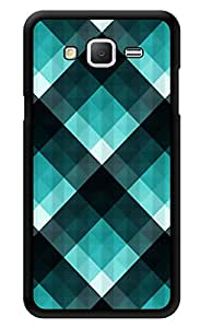 """Humor Gang Turquoise Checks Printed Designer Mobile Back Cover For """"Samsung Galaxy On5"""" (3D, Glossy, Premium Quality Snap On Case)"""