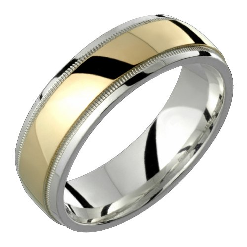 Aldabella &#8211; Stunning Two Tone Comfort Fit Wedding Band for Him &#038; Her! Custom Made! Choose your Size.