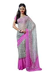 Prafful Gorgette Printed Saree With Unstitched Blouse - B00KNUIY7S
