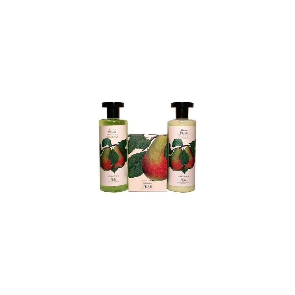 Asquith & Somerset Summer Pear Shower Gel, Body Lotion & Soap Bar Set From England