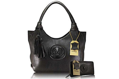 FERETI borse grandi e portafoglio vera pelle marrone Leone 3D ...