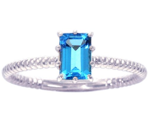 14K White Gold Octagon Gemstone Solitaire Stackable Ring-Swiss Blue Topaz, size6