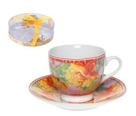 Espresso or Turkish Coffee Demitasse Cups and Saucers Set of 6 Yellow Roses (Alpine Cuisine Espresso compare prices)