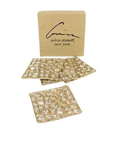 Aviva Stanoff Set of 4 Jewel Coasters, Gold