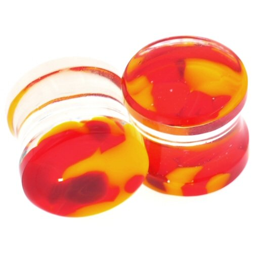"Pair Of Glass Double Flared Krush Plugs: 1-1/2"" Red Yellow"