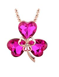 GirlZ! Austrian Crystal Three Petals Flower Pendant Necklace - Rose Pink