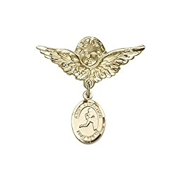 14kt Gold Filled Baby Badge with St. Sebastian/Track & Field Charm and Angel w/Wings Badge Pin