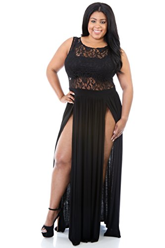 Rekais Sexy Plus Size Reign Maxi Dress XXL Size (black)