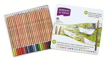 Derwent Academy Watercolor Pencils, 3.3mm Core, Metal Tin, 24 Count (2301942) (Tamaño: 24 Count)