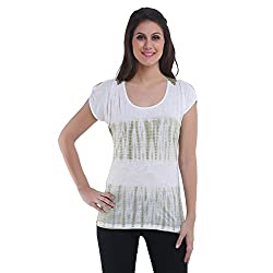 Meish White Printed Top for Women