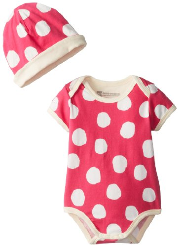 PACT Baby-Girls Newborn Bodysuit and Beanie Set