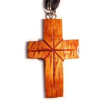 Koa Wood Cross Pendant Necklace