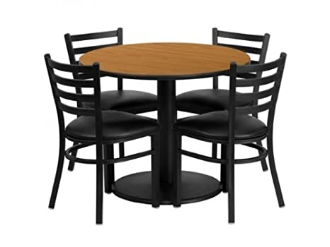 36'' Round Laminate Table Set with 4 Ladder Back Metal Chairs - Black Vinyl Seat Natural