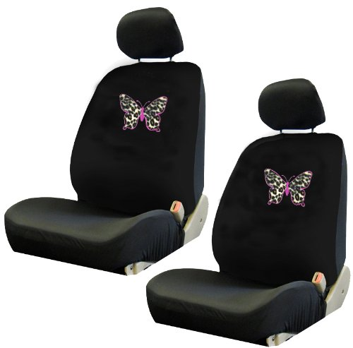 pink butterfly outline w cheetah tan animal print skin auto accessories interior combo kit gift. Black Bedroom Furniture Sets. Home Design Ideas