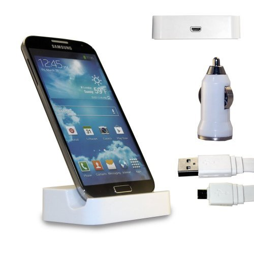 Shelfone 3 In 1 Bundle Premium High Quality Charging Dock Desktop Stand Docking Station Includes Coloured Includes Flat Micro Usb Data Cable & Universal Bullet Car Charger For Various Samsung Mobile Series Samsung Galaxy S4 I9500 I9505 White
