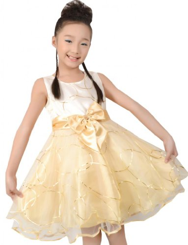 Kids Champagne Bow Tie Wedding Bridesmaid Party Girls Dress Size 7-8