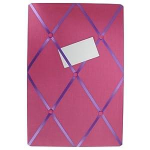 Fabric Memo Board Pin Board 40cm x 60cm Ribbon Button Pink