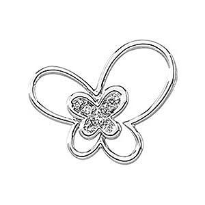 IceCarats Designer Jewelry 14K White Gold .06 Ctw Diamond Butterfly Pendant