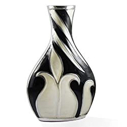 Handcrafted Black and White Floral Design Metal Flower Vase
