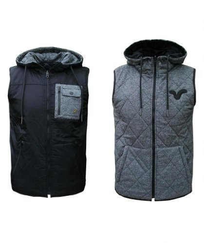 Voi Jeans Cave Men's Reversible Hooded Gilet Bodywarmer Jacket Coat black/grey X-Large