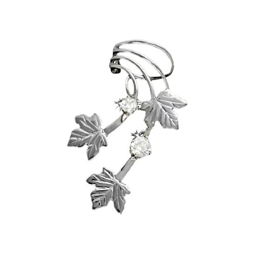 Sterling Silver Left Only Pierceless Maple Leaves Ear Cuff