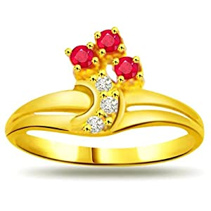 0.06ct Diamond & Ruby Gold Ring SDR966