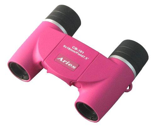 MIZAR-TEC 双眼鏡 ダハプリズム式 6倍18ミリ口径 アリエス コンパクトタイプ ポーチ付き ピンク CB-101PK