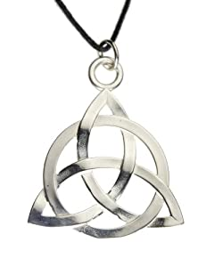 Triquetra Silver Dipped Pendant Necklace on Adjustable Natural Fiber Cord