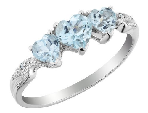 Three Stone Aquamarine Heart Ring with Diamonds 8/10 Carat (ctw) in 10K White Gold