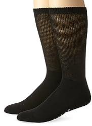 Dr. Scholl's Men's Big-Tall 2 Pack Non-Binding Crew Socks, Black, X-Large/12.5-14 Shoe