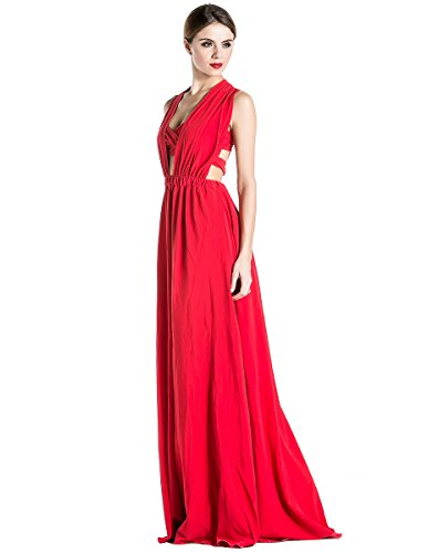 Missord Deep V-neck Sleeveless Split Adjustable Straps Party Dress Large Red (Maxi Double Split compare prices)
