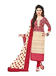 Taos Brand cotton dress materials for women womens dress materials cotton salwar suit New Arrival latest 2016 womens party wear Unstitched dress materials for women (1409 summer__cream and red_freesize