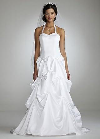 Davids Bridal Wedding Dress Beaded Halter Satin Ballgown Style T3377