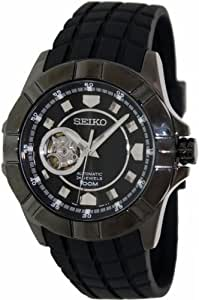 Seiko Men's Superior SSA079 Black Rubber Automatic Watch with Black Dial
