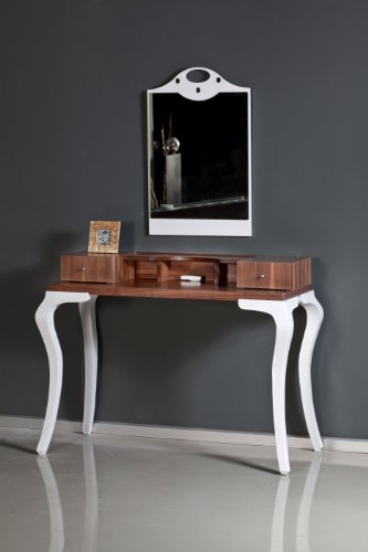 Modern Vanity Table & Mirror Set with 2 Drawers