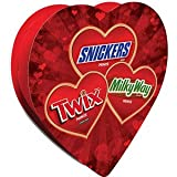 VALENTINES DAY CANDY CHOCOLATE HEART BOX MARS MINIS SNICKERS TWIX MILKY WAY 7.7 OZ