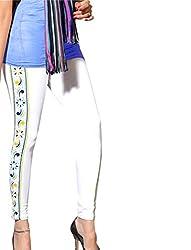 1 stop fashion White Cotton Lycra Leggings