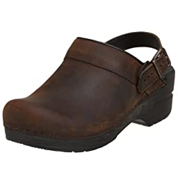 Dansko Women\'s Ingrid Oiled Leather Clog,Antique Brown/Black,37 EU / 6.5-7 B(M) US