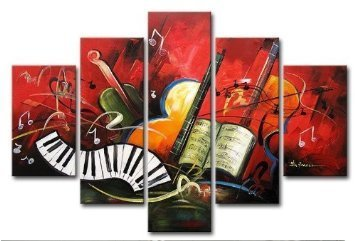 Wieco Art -Stretched and Framed 100% Hand-painted Modern Canvas Wall Art Decor Free Shipping the Music Score Home Decoration Abstract Landscape Oil Paintings on Canvas 5pcs/set