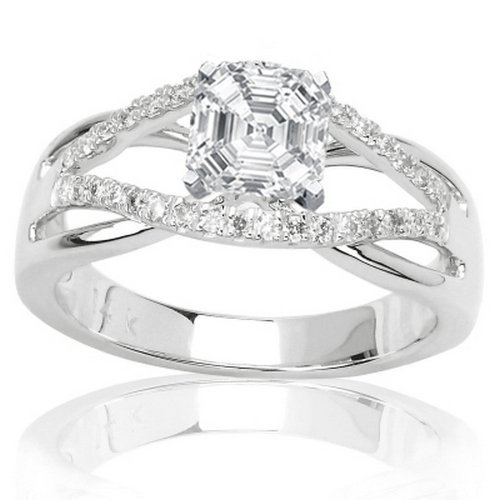 Sale 0.77 Carat Asscher Cut / Shape 14K White Gold Infinity Twisting Split Shank Pave Set Round Diamonds Engagement Ring ( H-I Color , VS2 Clarity ) - Size 5.5